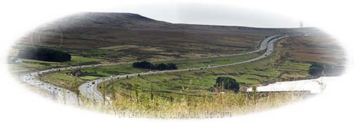 M62 Motorway snakes its way to Saddleworth Moor in The Pennines