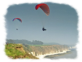 Yorkshire Visitors Guide - Para-gliding Over North Beach and Cliffs At Bridlington