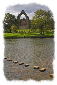 Picture of Bolton Abbey and stepping stones - Click to visit Bolton Abbey